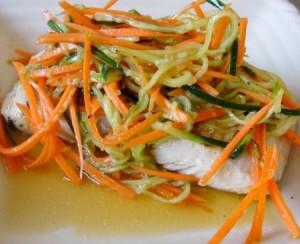 Տապակած ձուկ բանջարեղենով
